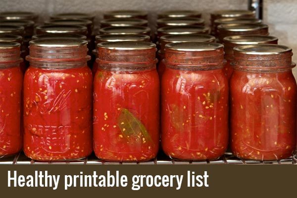 Printable healthy grocery list