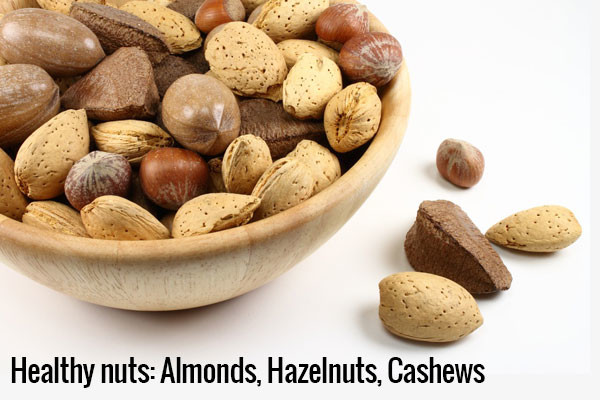 Almonds, cashews, hazelnuts