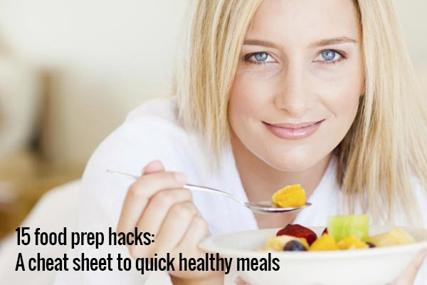 woman eating quick healthy meal