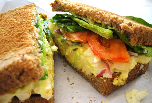 Egg salad in a sandwich