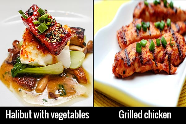 Healthy main dishes in restaurant