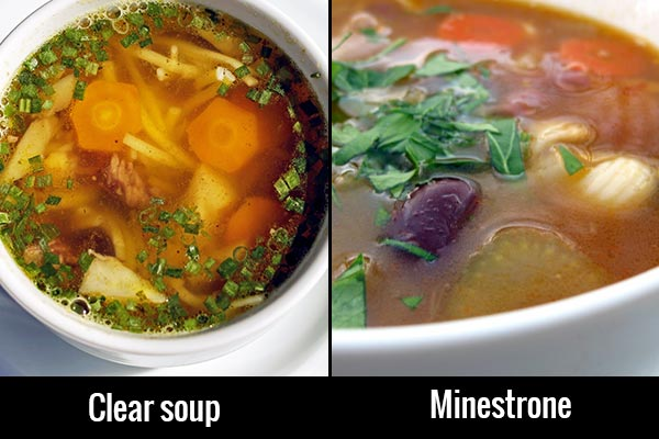Healthy eating out soups
